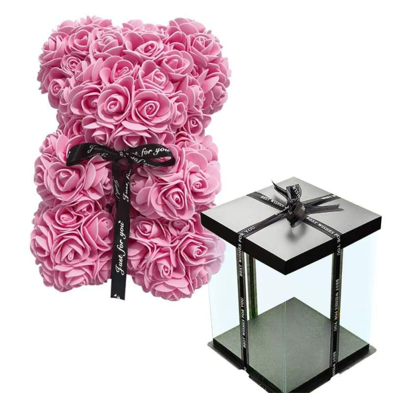 Rose Teddy Bear Valentines Gift Just For You - Pink with Box - Teddy Bear1