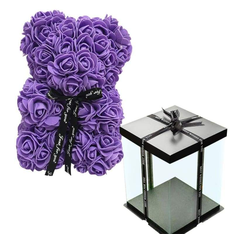 Rose Teddy Bear Valentines Gift Just For You - Purple with Box - Teddy Bear1