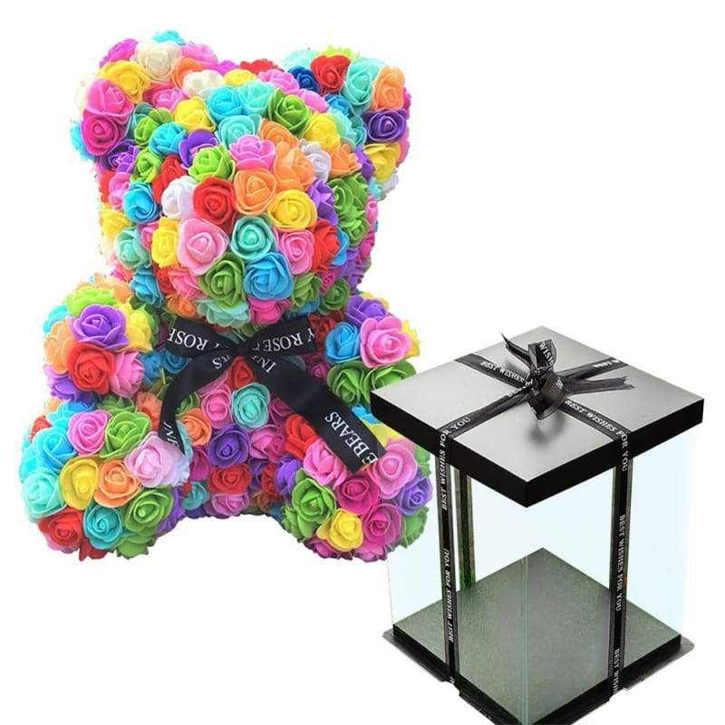 Rose Teddy Bear Valentines Gift Just For You - Ranbow with Box - Teddy Bear1