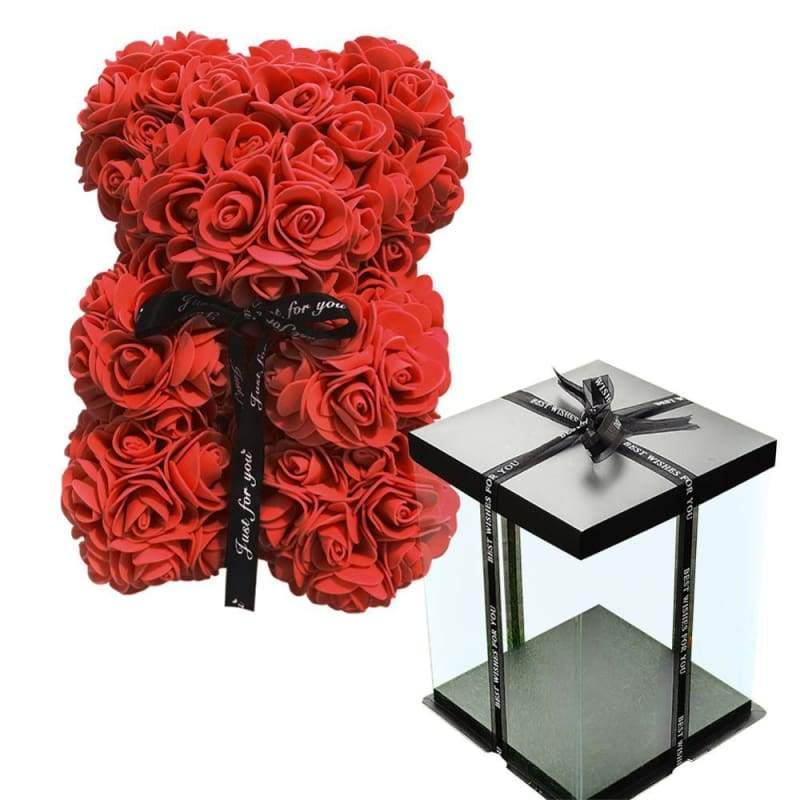 Rose Teddy Bear Valentines Gift Just For You - Red with Box - Teddy Bear1