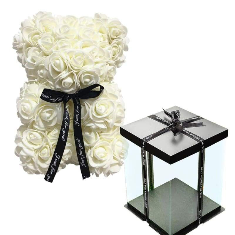 Rose Teddy Bear Valentines Gift Just For You - White with Box - Teddy Bear1