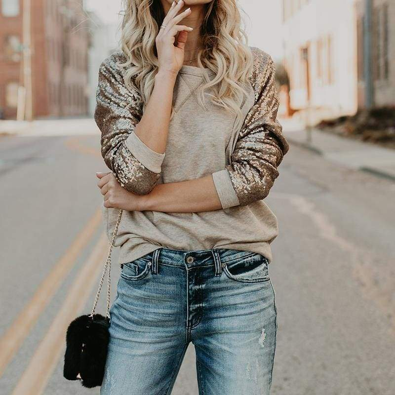 Sequin long sleeve T-shirt - Gray / S - T-Shirts
