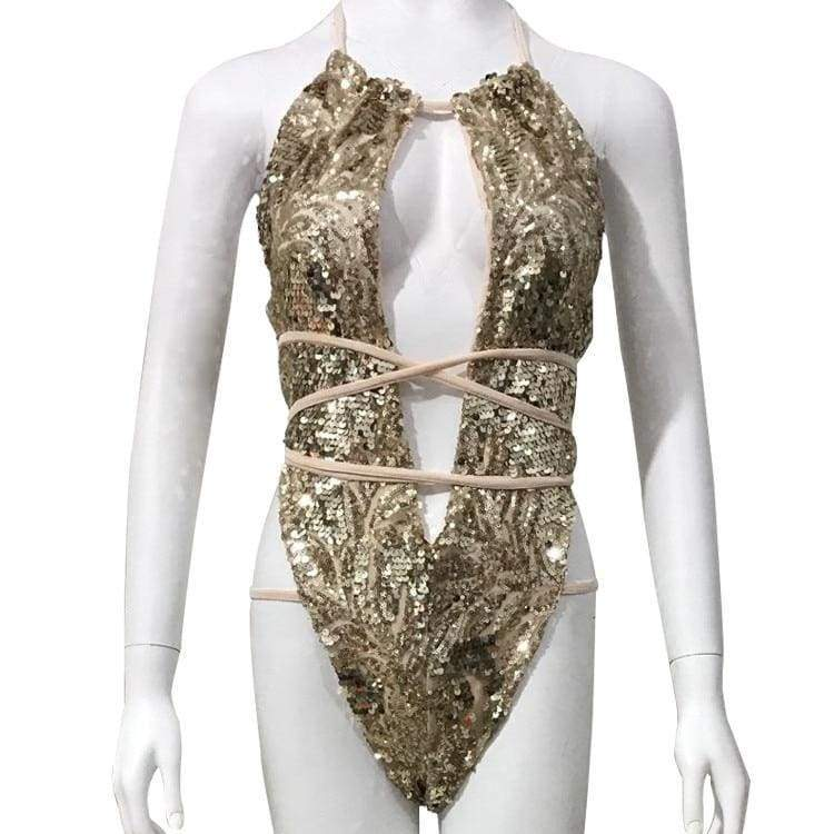Sequin Mesh Sexy Thong Swimwear - as picture Gold / S - One-Piece Suits