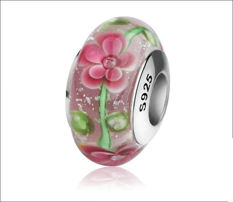 Silver Murano glass beads with flower petal and green leaves - TG1048 - Beads