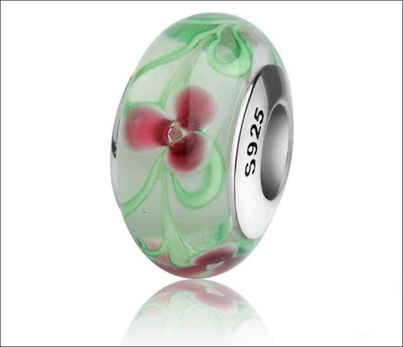 Silver Murano glass beads with flower petal and green leaves - TG1050 - Beads