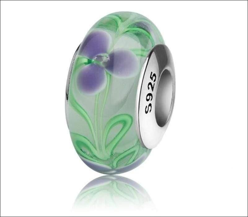 Silver Murano glass beads with flower petal and green leaves - TG1052 - Beads