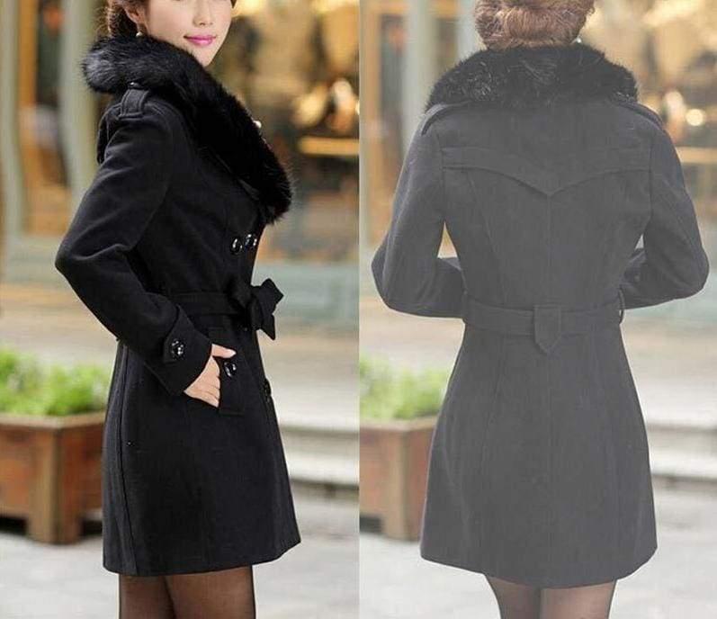 Amazing Slim Big Fur Collar Warm Coat - Wool & Blends