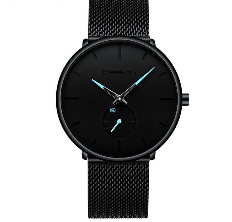 Slim Mesh Steel Waterproof Sports Watch - black blue - Quartz Watches