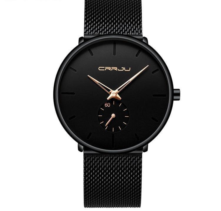 Slim Mesh Steel Waterproof Sports Watch - black rose - Quartz Watches