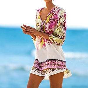 Snakeskin Beach Cover Up - Red as pic / One Size - Cover-Ups
