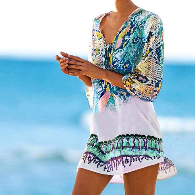 Snakeskin Beach Cover Up - Cover-Ups