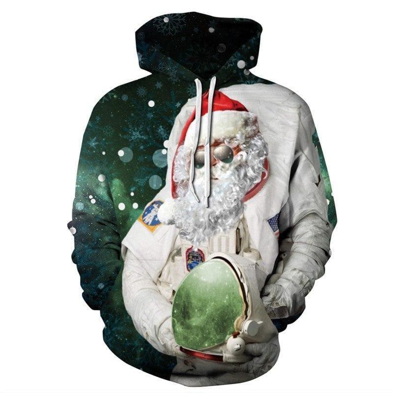 Space Astronaut Santa Hooded Sweatshirt - Christmas Hoodies