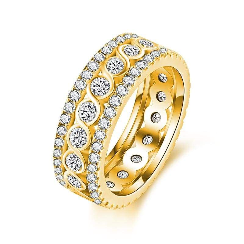 Stunning Eternity Ring - 10 / 18K gold color - Engagement Rings
