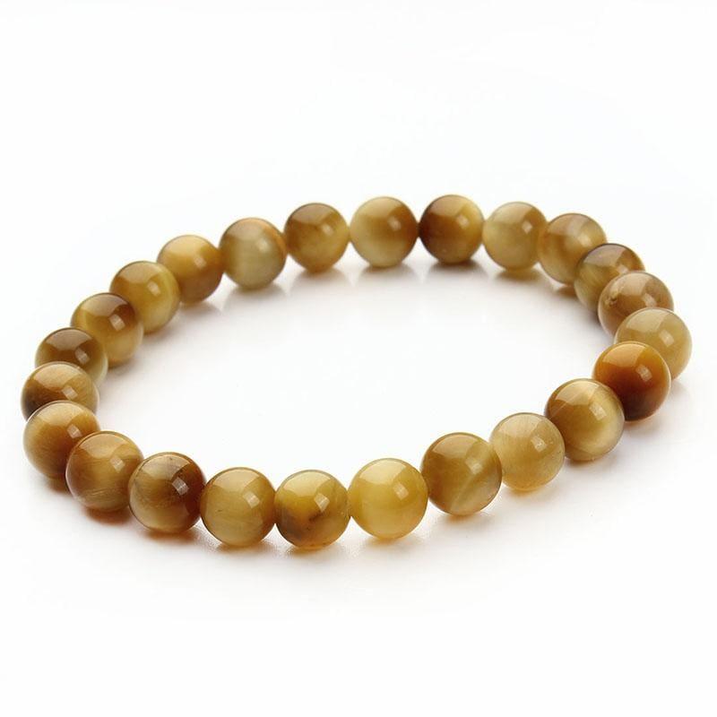 Summer Style Natural Stone Beads Bracelet - Gold Tiger Eye - Charm Bracelets