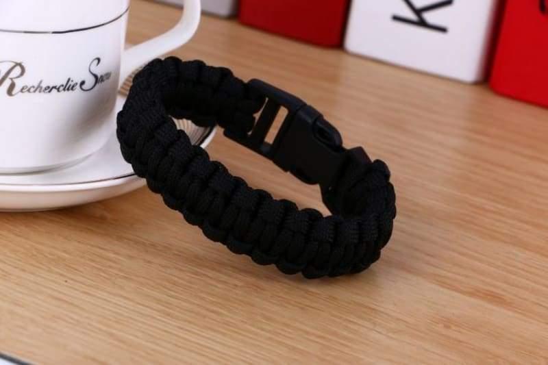 Survival Paracord Bracelet - Black - Chain & Link Bracelets