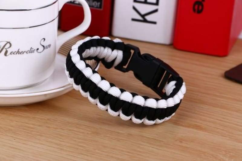 Survival Paracord Bracelet - Black White - Chain & Link Bracelets