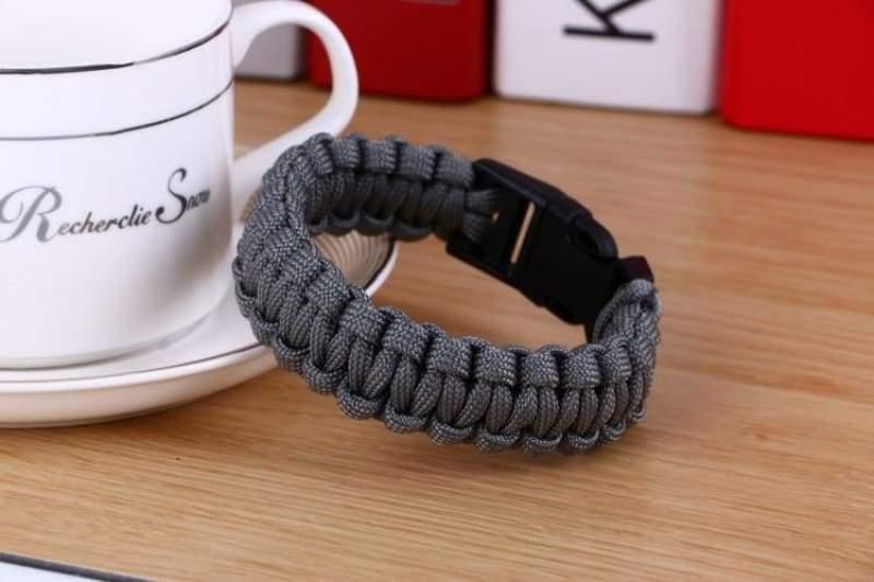 Survival Paracord Bracelet - Gray - Chain & Link Bracelets