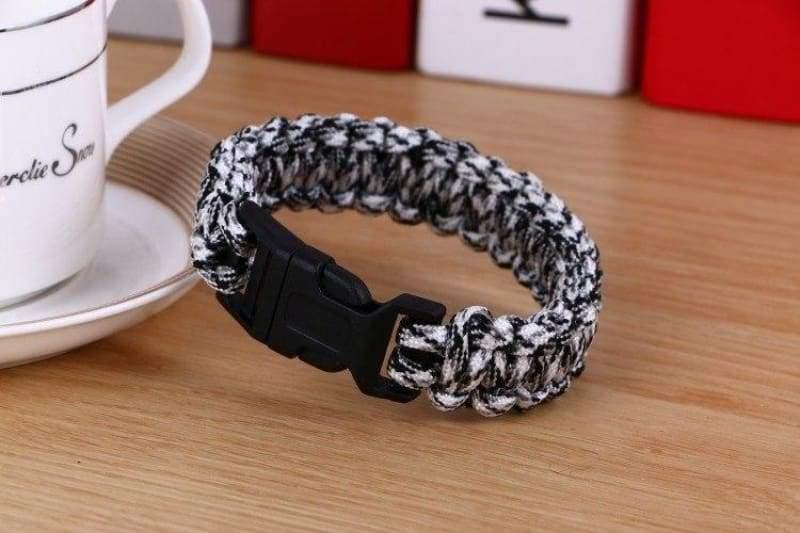 Survival Paracord Bracelet - Mixed Black White - Chain & Link Bracelets