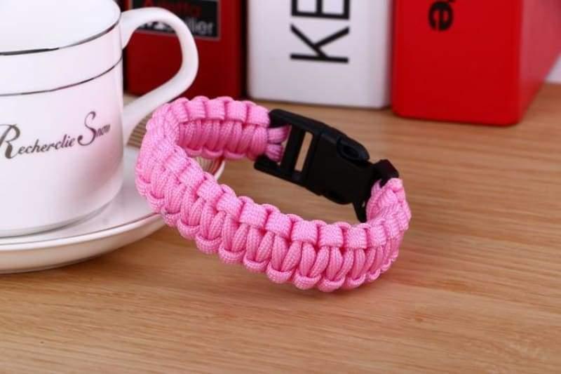 Survival Paracord Bracelet - Pink - Chain & Link Bracelets