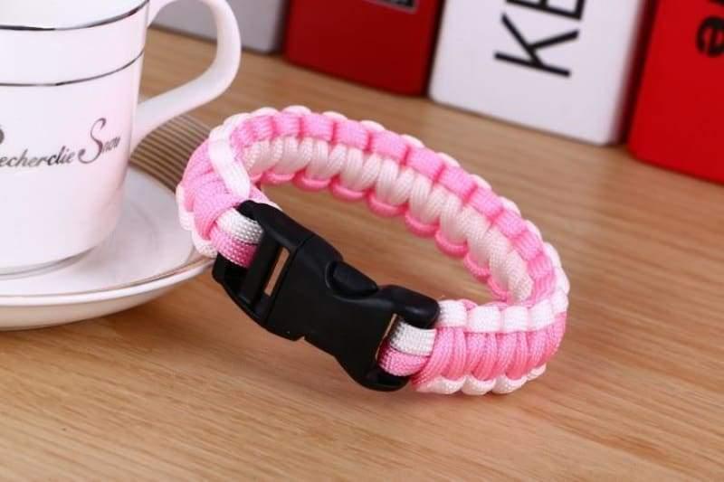 Survival Paracord Bracelet - Pink White - Chain & Link Bracelets