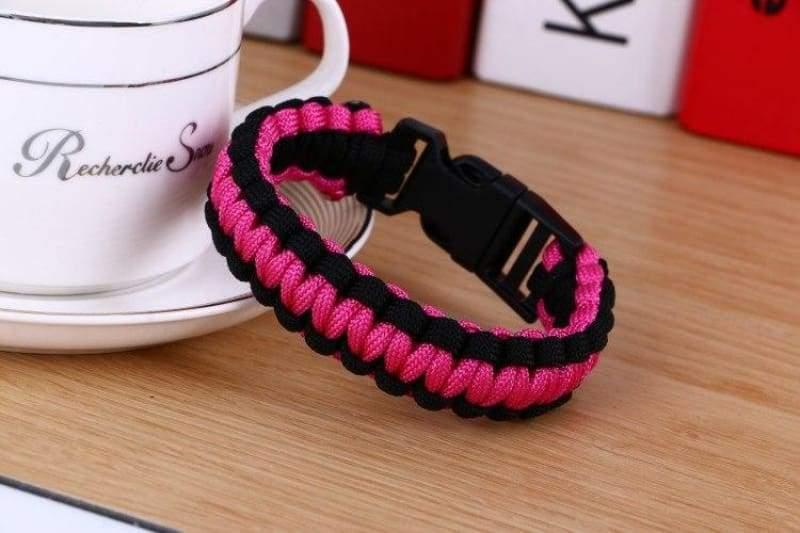 Survival Paracord Bracelet - Red Black - Chain & Link Bracelets