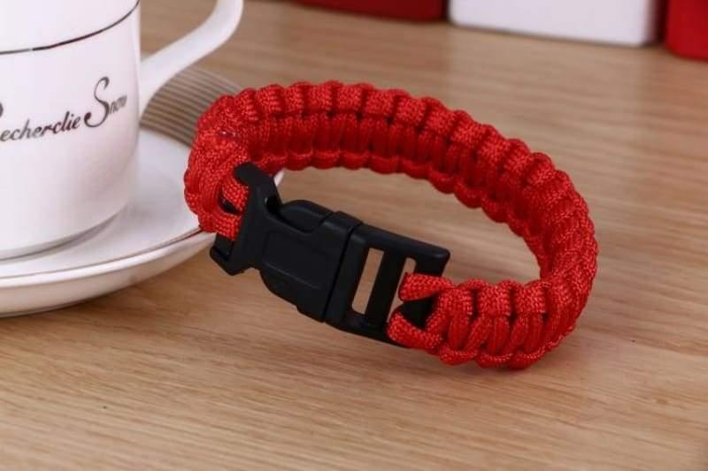 Survival Paracord Bracelet - Red - Chain & Link Bracelets