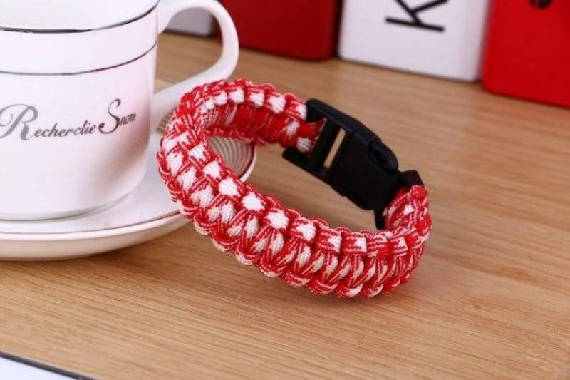 Survival Paracord Bracelet - Red White - Chain & Link Bracelets