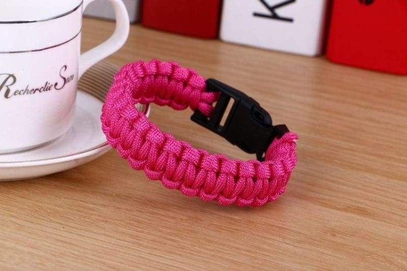 Survival Paracord Bracelet - Rose - Chain & Link Bracelets