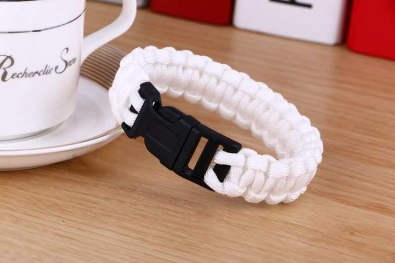 Survival Paracord Bracelet - White - Chain & Link Bracelets