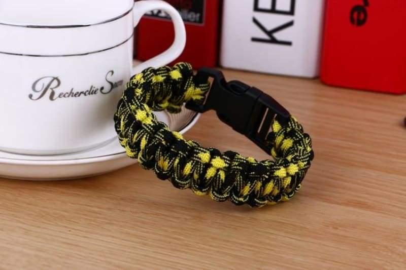 Survival Paracord Bracelet - Yellow Black - Chain & Link Bracelets