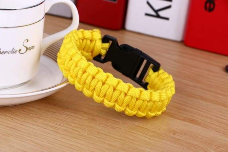 Survival Paracord Bracelet - Yellow - Chain & Link Bracelets