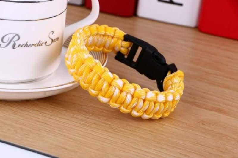 Survival Paracord Bracelet - Yellow White - Chain & Link Bracelets