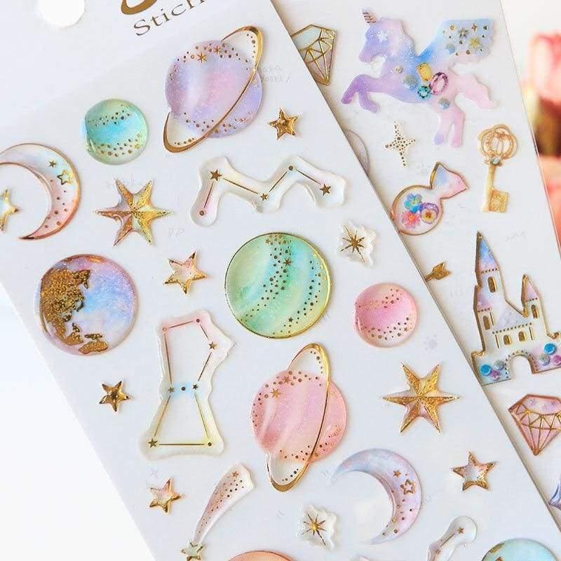 Sweet dream star & unicorn stickers - Stationery Sticker