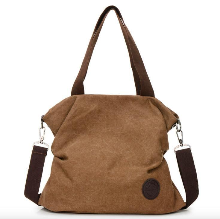 The canvas tote handbag - coffee small - Shoulder Bags
