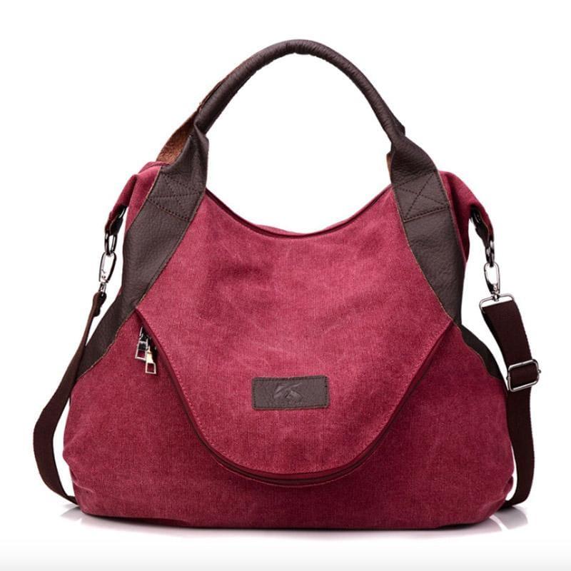 The canvas tote handbag - wine red large - Shoulder Bags