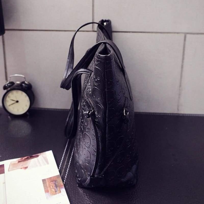 Tote Shoulder Leather Skull Bag - Shoulder Bags