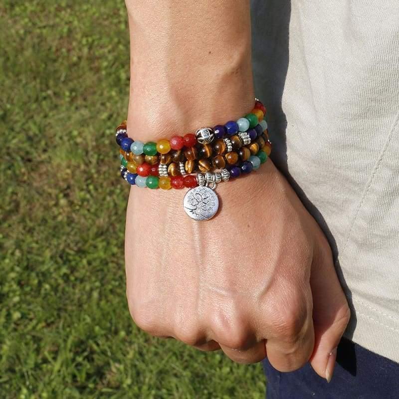 Tree Life Chakra A Tiger Eye Beaded Bracelet - Charm Bracelets