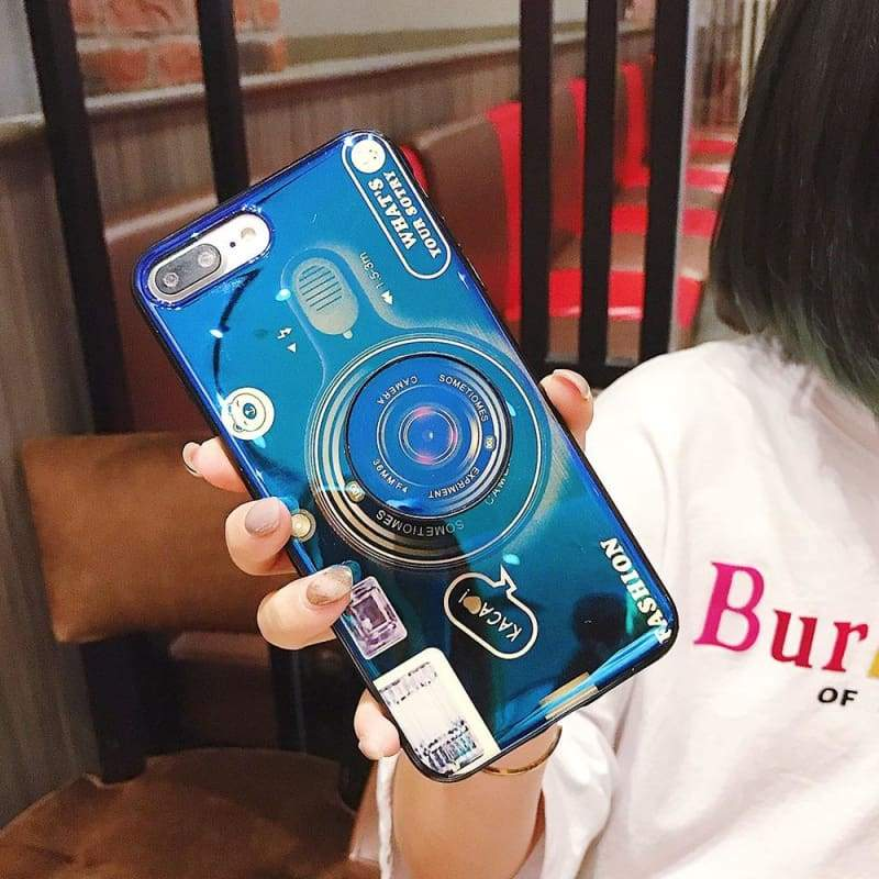 Vintage Camera Phone Case - Blue / For iPhone 7 / Kickstand and Case - Fitted Cases