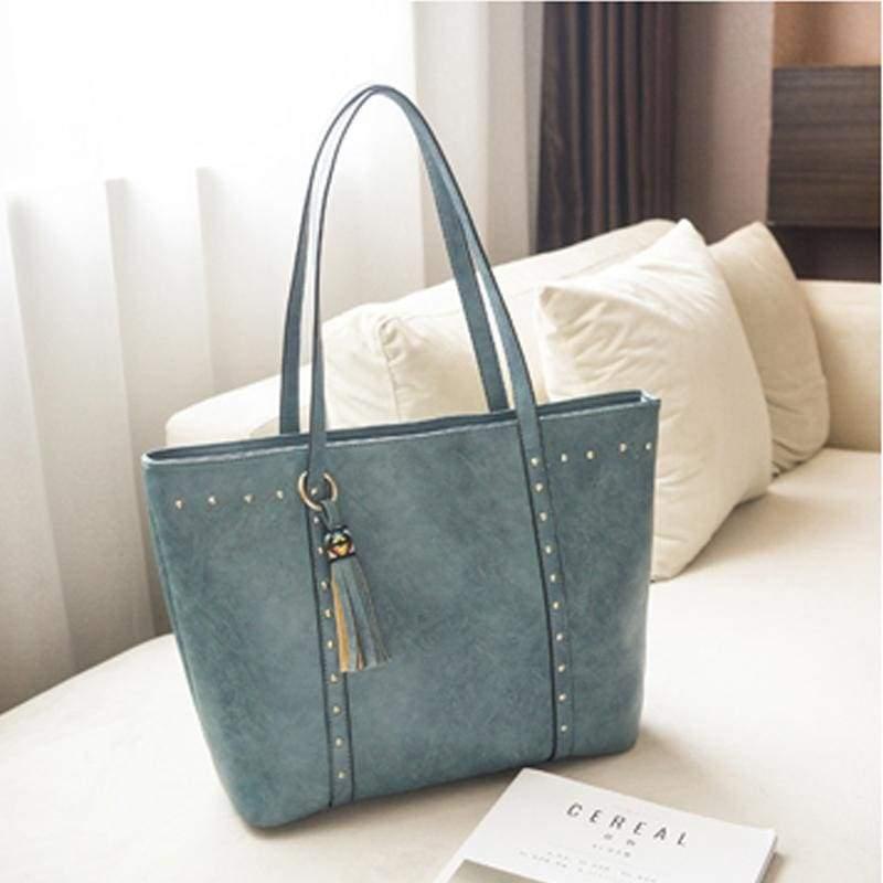 Vintage large capacity bag - blue - Top-Handle Bags