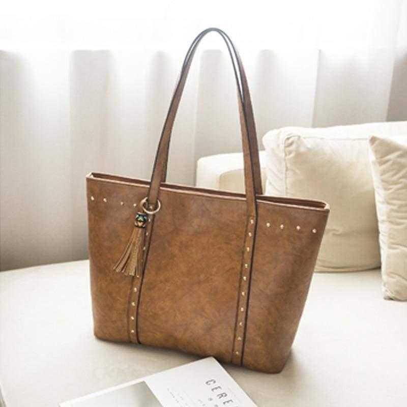Vintage large capacity bag - brown - Top-Handle Bags
