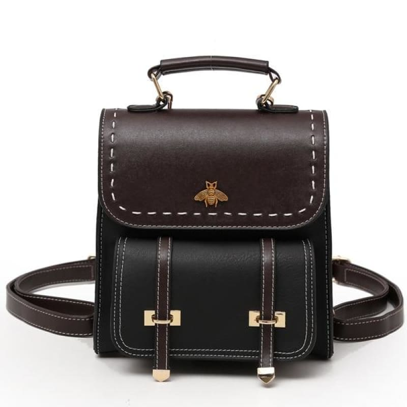 Vintage Leather Backpack Just For You - black / 20x10x23cm - Backpacks