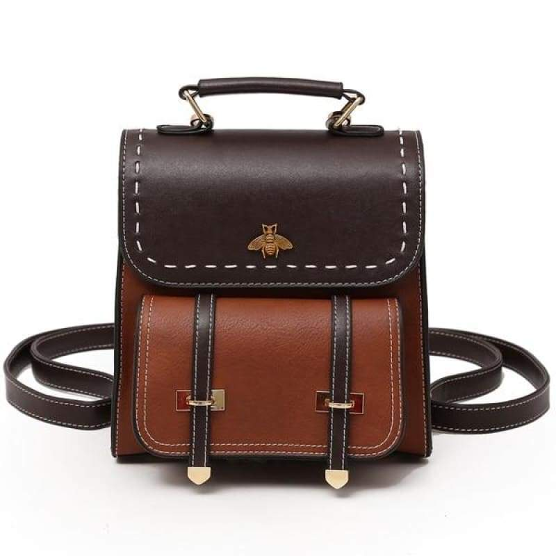Vintage Leather Backpack Just For You - brown / 20x10x23cm - Backpacks