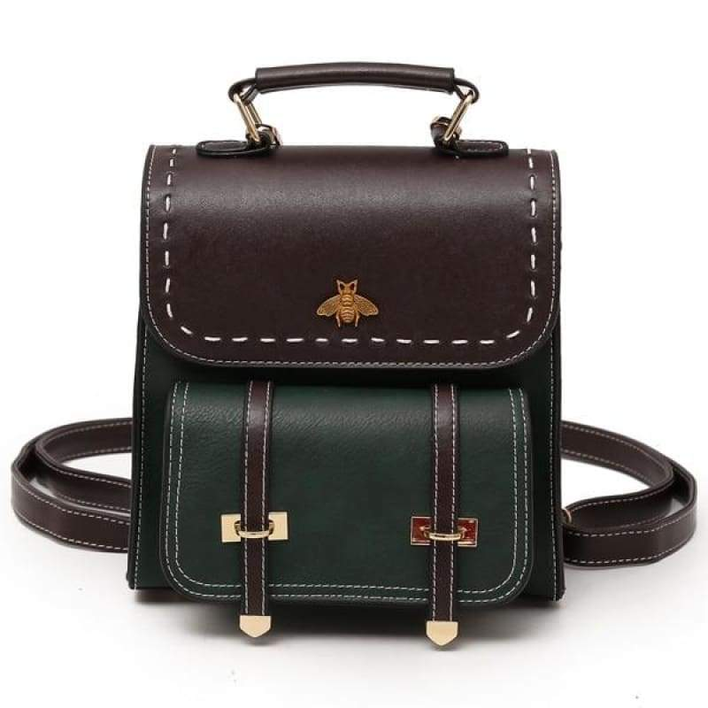 Vintage Leather Backpack Just For You - green / 20x10x23cm - Backpacks