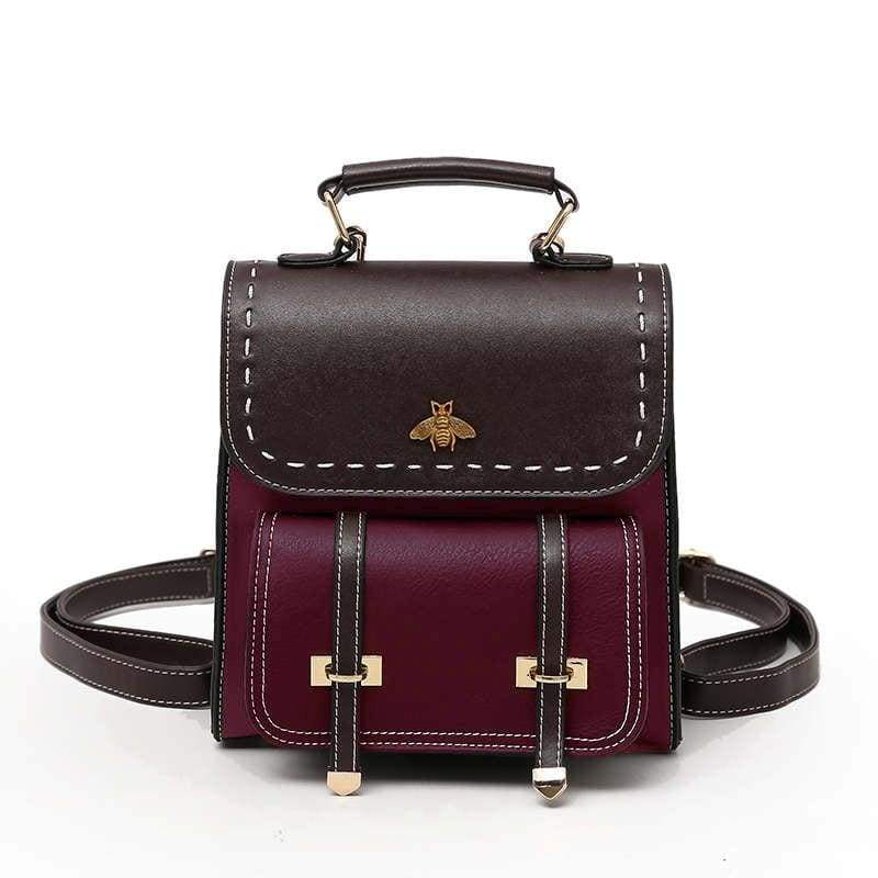Vintage Leather Backpack Just For You - wine / 20x10x23cm - Backpacks