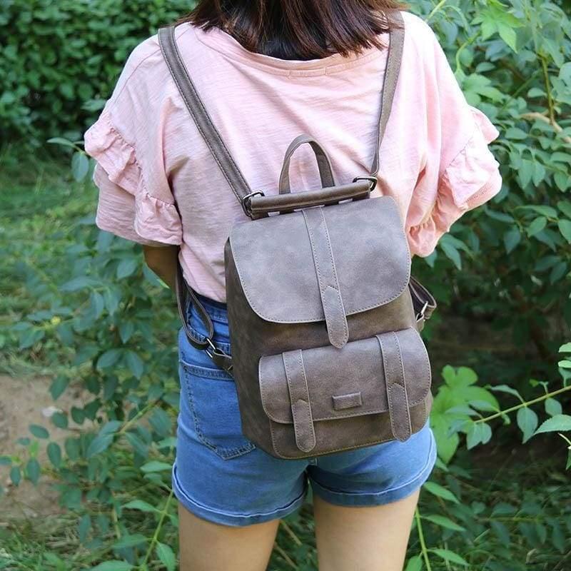 Vintage Women Backpacks - Coffee - Backpacks