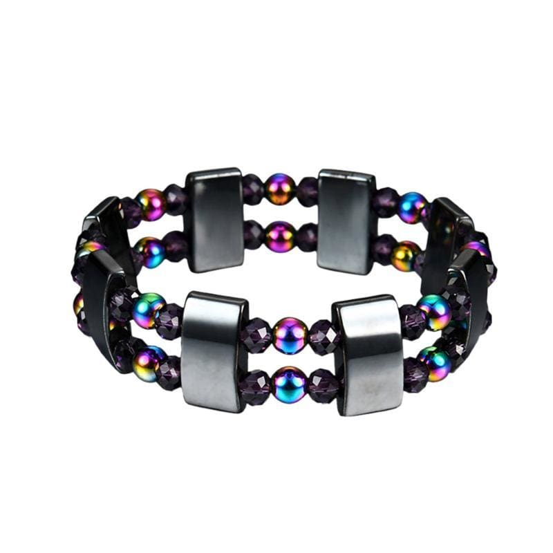 Weight Loss Magnetic Therapy Round Black Stone Bracelet - Charm Bracelets