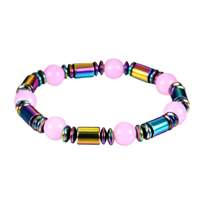 Weight Loss Magnetic Therapy Round Black Stone Bracelet - Design10 - Charm Bracelets