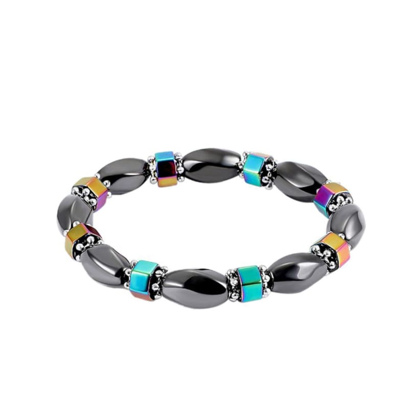 Weight Loss Magnetic Therapy Round Black Stone Bracelet - Design11 - Charm Bracelets