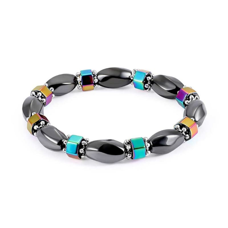 Weight Loss Magnetic Therapy Round Black Stone Bracelet - Design12 - Charm Bracelets