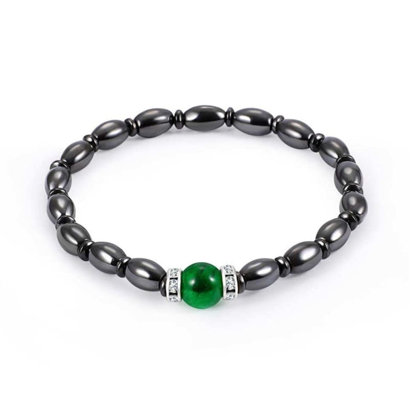 Weight Loss Magnetic Therapy Round Black Stone Bracelet - Design15 - Charm Bracelets